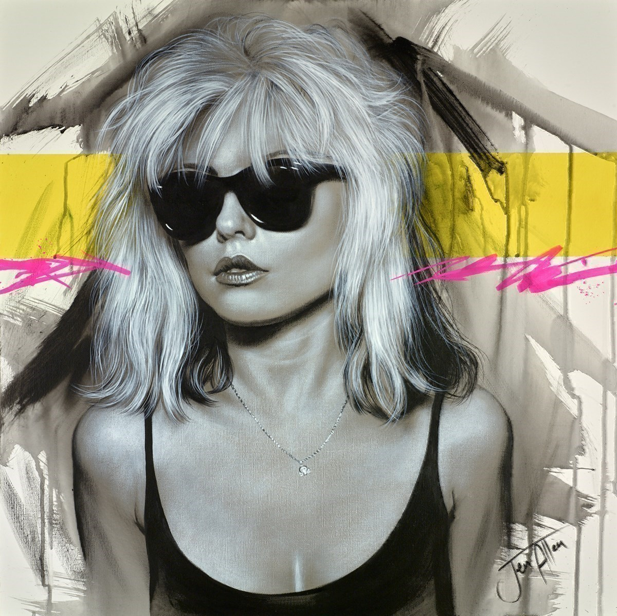Blondie Parallel Lines by Jen Allen -  sized 24x24 inches. Available from Whitewall Galleries